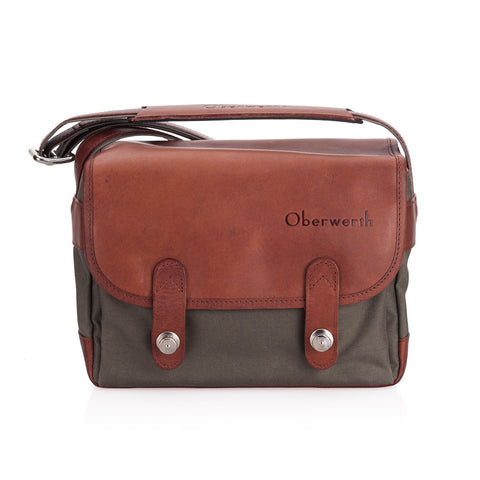 Oberwerth Freiburg Medium Cordura/Leather Photo Bag - Olive/Light Brown