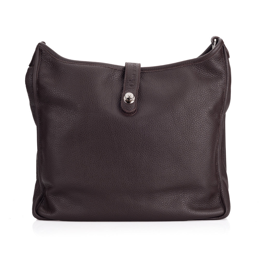 Oberwerth Kate Photo Bag, Espresso Leather with Silver Buckles, Clutch and Keywallet