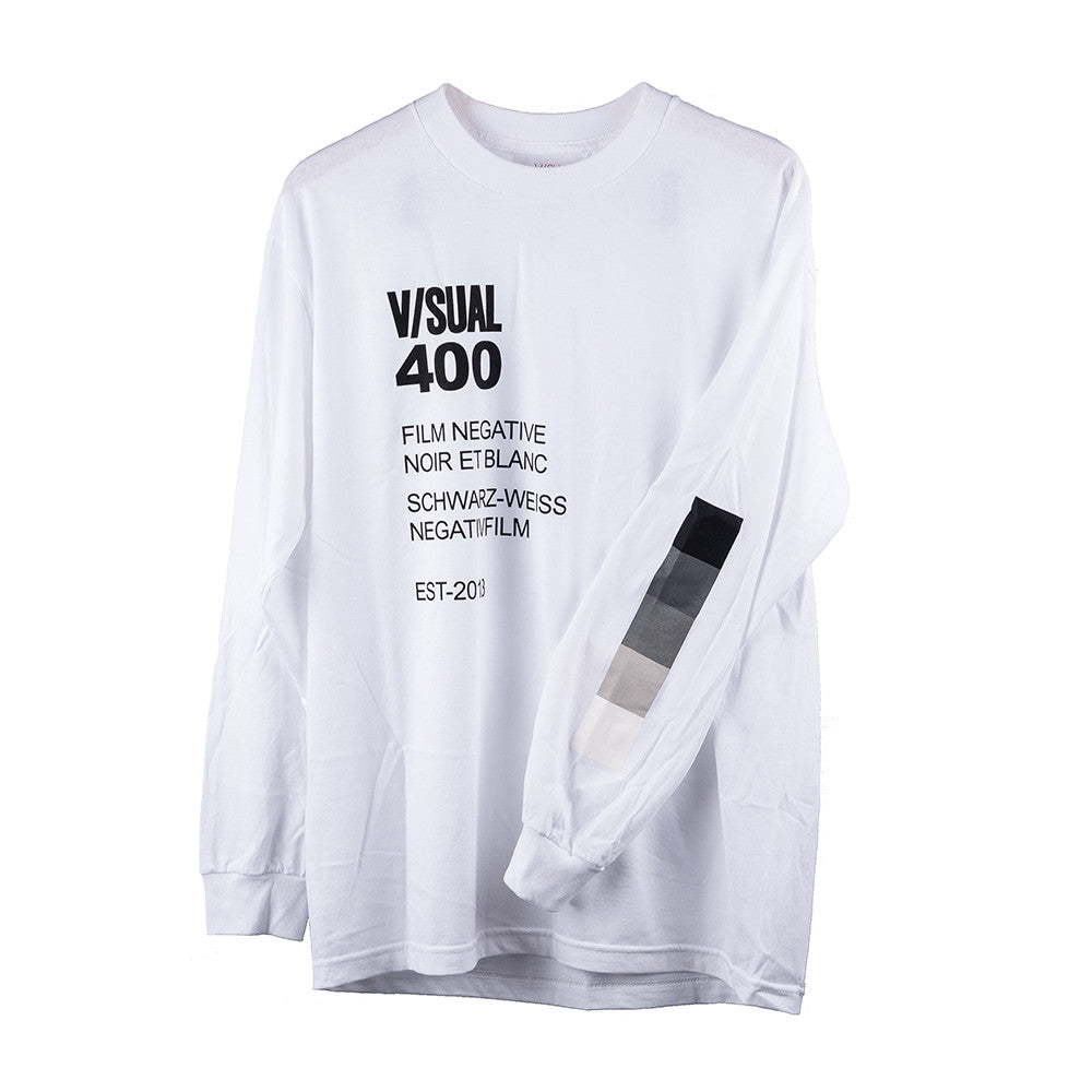 V/SUAL Negative Long Sleeve Tee, White, X-Large