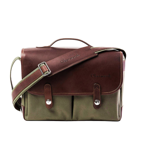Oberwerth München Large Photo Bag - Cordura/Leather -  Olive/Dark Brown