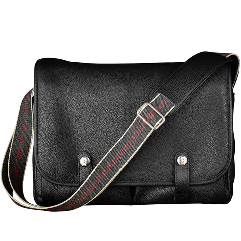 Oberwerth Richard X-Large Leather Camera/Business Bag, Black with Red Lining