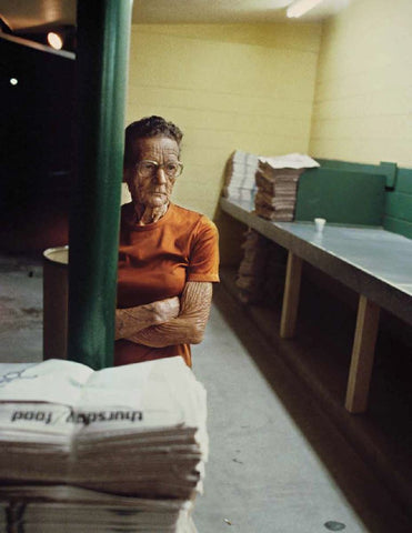 Nathan Benn - Editioned Print -  Part-time worker E.M.Souder, 72, waiting for newspapers at St. Pete Times plant, 3 a.m., St. Petersburg, 1981