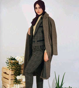 Brown Single Buttoned Teddy Coat