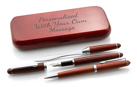 Personalised Wooden Triple Pen Set