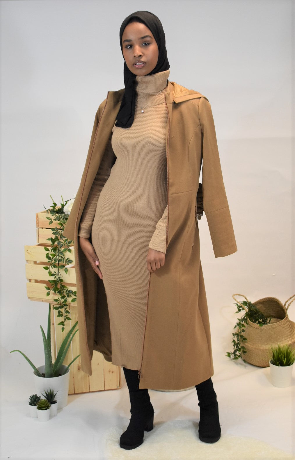 High Neck Fitted Elasticated Jumper Dress