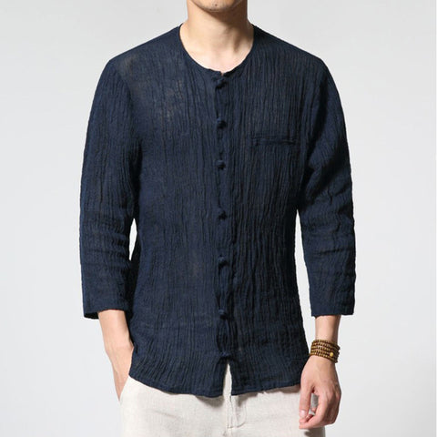 Chinese Style Traditional Men's Shirts - Cotton