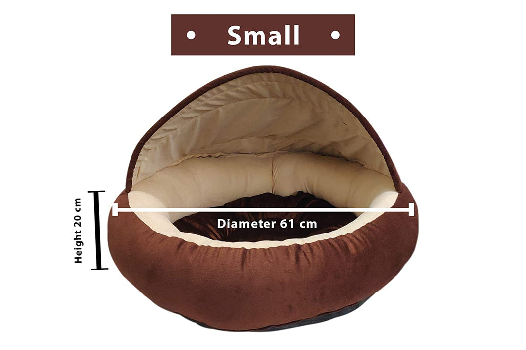 Hiputee Velvet Fabric Dual Colour Cave Shape Bed for Small Dogs & Cats