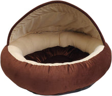 Load image into Gallery viewer, Hiputee Velvet Fabric Dual Colour Cave Shape Bed for Small Dogs & Cats