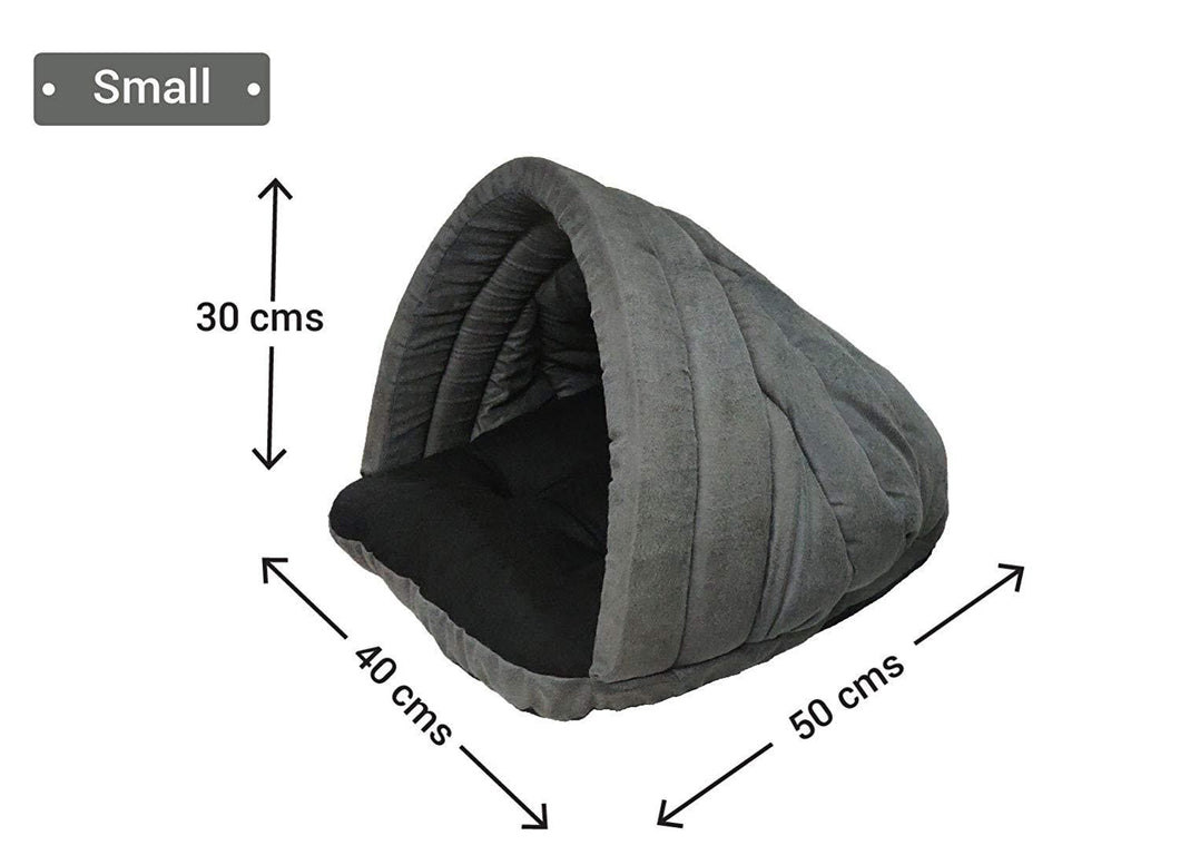 Tunnel Shape Grey Black Velvet Cat House Small Size