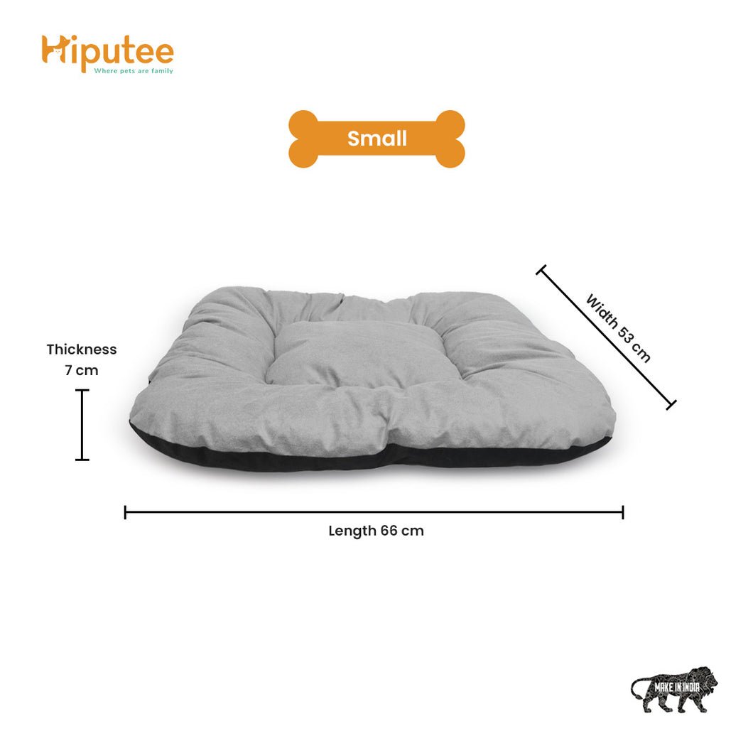 Hiputee Reversible Dual Color Ultra Soft Velvet Bed for Small Large Dogs & Cats (Grey Black)