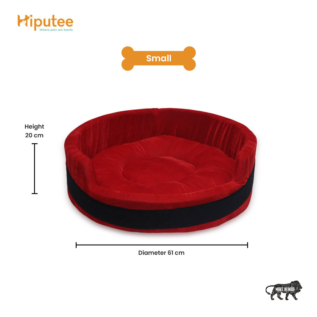 Hiputee Reversible Round Dual Colour Bed for Dogs & Cats