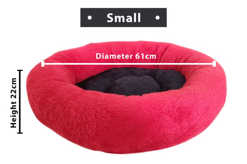 Reversible Ultra Soft Fur Bed Black Color Medium Size Small Diameter