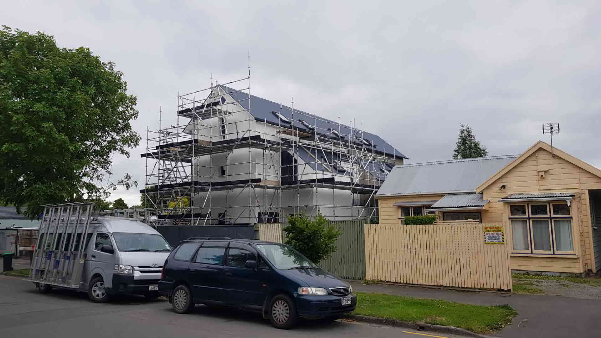 Scaffold for replaster & paint