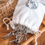 Stainless steel pegs with sustainable cotton bag