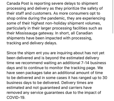 Message from shipping provider