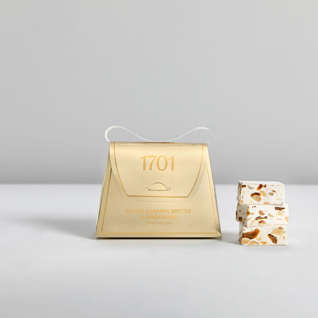 Salted Caramel Brittle & Macadamia Nougat Gold Handbag (140g) - 1701 Luxury Gifting and Honey Nougat - Order Online Johannesburg South Africa