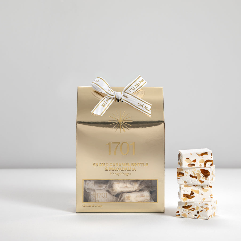 Salted Caramel Brittle & Macadamia Nougat Box with Special Eid Ribbon (160g) - 1701 Nougat & Luxury Gifting (Pty) Ltd