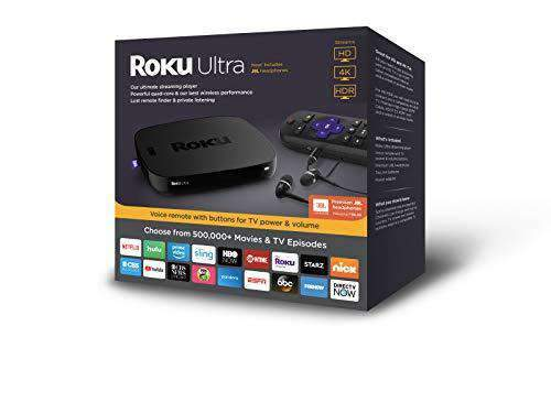 Roku Ultra | HD/4K/HDR Streaming Media Player Voice Remote, Remote Finder & USB. Now includes Premium JBL Headphones. (2018)