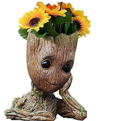 Guardians of The Galaxy Groot Pen Pot Tree Man Pens Holder or Flower Pot with Drainage Hole Perfect for a Tiny Succulents Plants