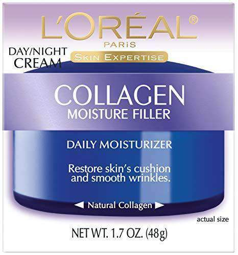 Collagen Face Moisturizer by L'Oreal Paris, Anti-Aging Day Cream and Night Cream to Smooth Wrinkles, Lightweight, Non-greasy Facial Cream, 1.7 oz.