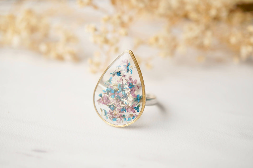 Real Pressed Flower and Resin Ring in Purple and Blue