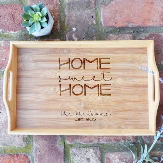 Home Sweet Home with Names and Est. Date Bamboo Serving Tray