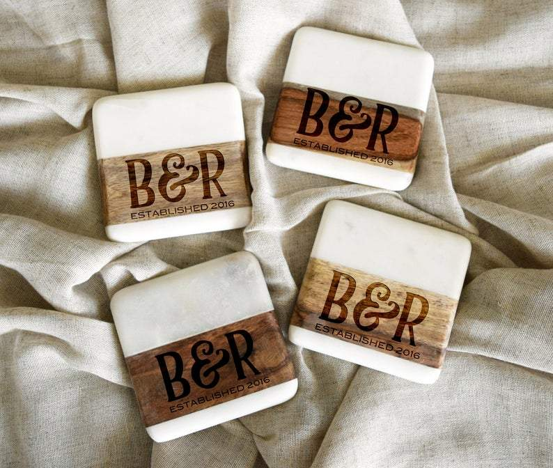 Initials Marble/Wood Coaster Set