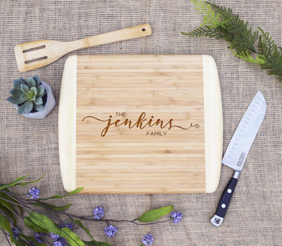 Family Last Name Two Tone Cutting Board