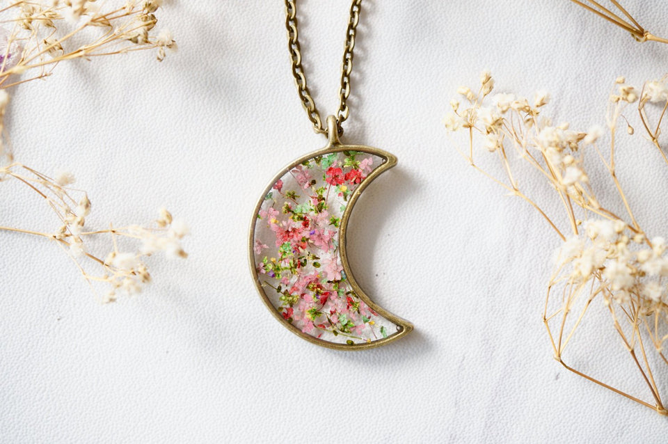Real Pressed Flower and Resin Celestial Moon Necklace in Greens and Pinks Mix