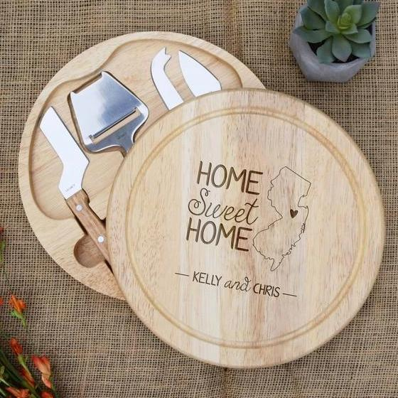 Home Sweet Home State Circular Cheese Board