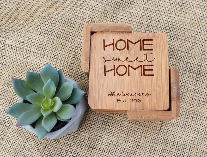 Home Sweet Home Bamboo Coaster Set