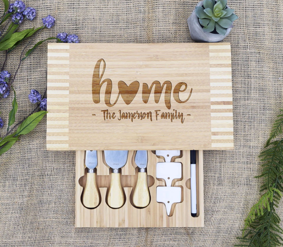 Home & Family Cheese Board with Tools