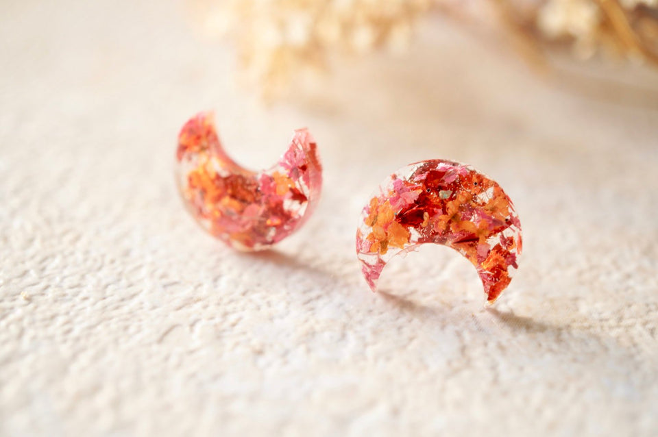 Real Pressed Flowers and Resin Celestial Moon Stud Earrings in Orange and Red