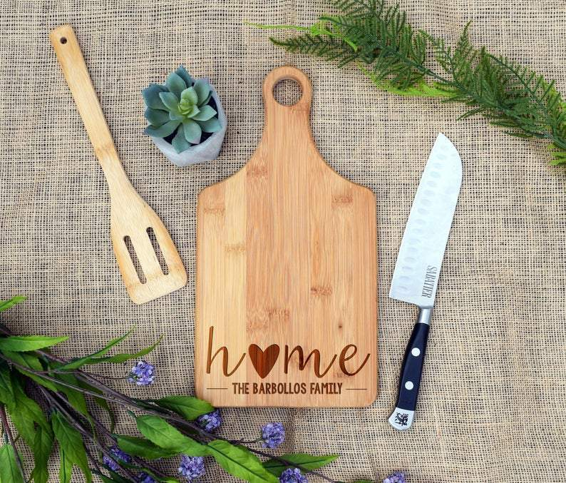 Home with Heart and Family Name Paddle Board