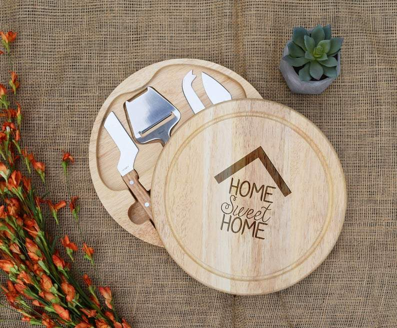 Home Sweet Home House Silhouette Circular Cheese Board