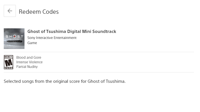 PS4 Ghost of Tsushima Pre-Order Bonus DLC - Avatar - Digital Soundtrack - Theme