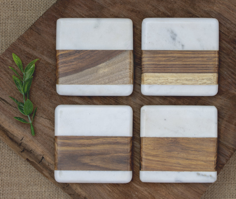 Home Sweet Home State Marble/Wood Coaster Set