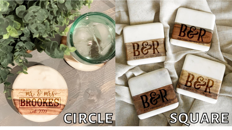 Family Marble/Wood Coaster Set