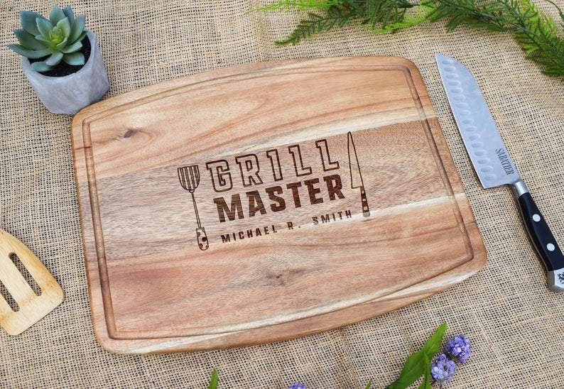 Grill Master Personalized Acacia Cutting Board with Juice Grooves