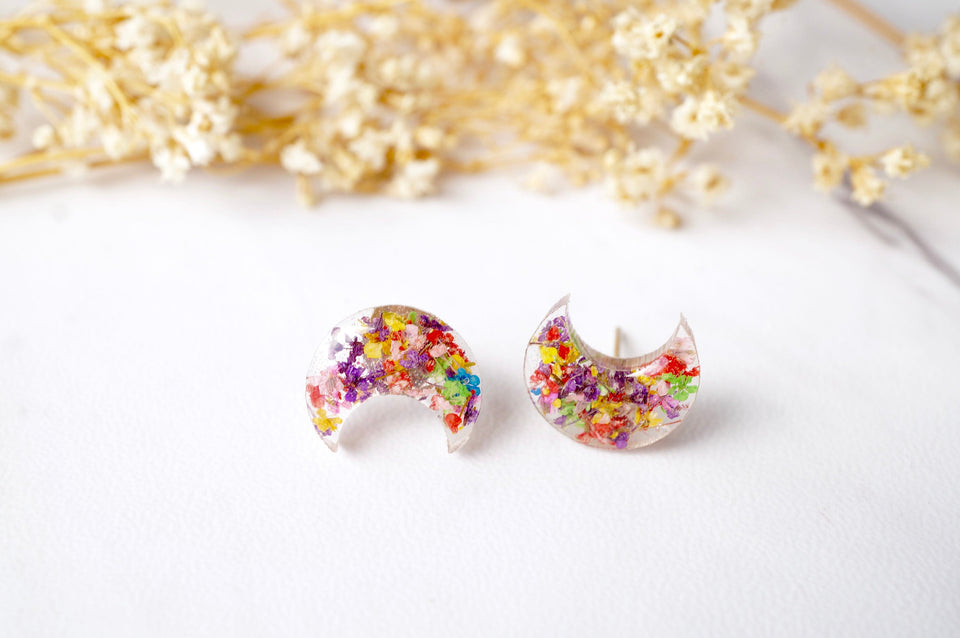 Real Pressed Flowers and Resin Celestial Moon Stud Earrings in Party Mix