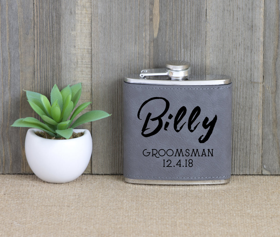 Groomsman with Name and Date Flask