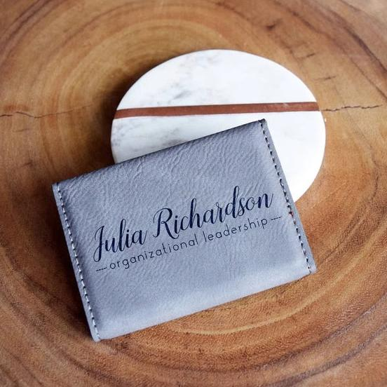 Cursive Name and Title Business Card Holder