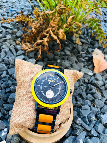 W14 LIMITLESS-YELLOW & BLUE CIRCULAR MEN WATCHES