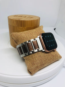 Walnut & Stainless Steel Apple Watch Band