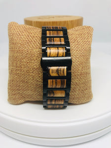 Zebra Wood & Black Stainless Steel Apple Watch Band