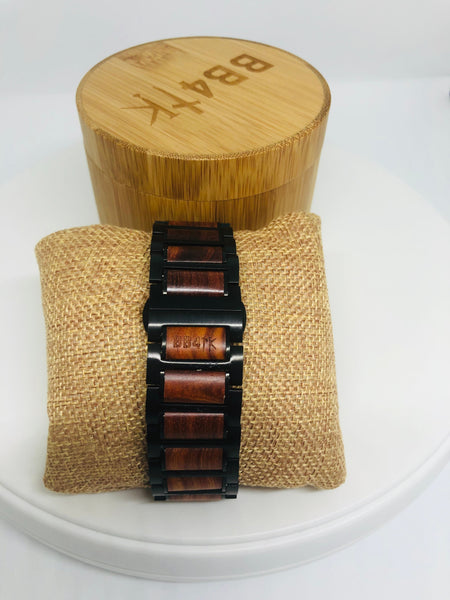 Red Sandalwood & Black Stainless Steel Apple Watch Band