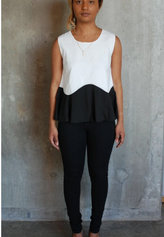 """Cecily"" Peplum Black and White Top"