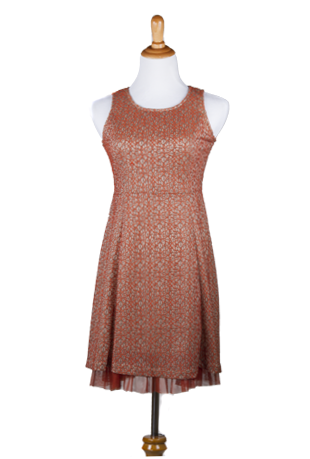 """Carmela"" Sleeveless Embroidered Layered A-Line Dress"