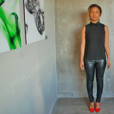 """Allison"" Faux Leather Peter Pan Collar Top"