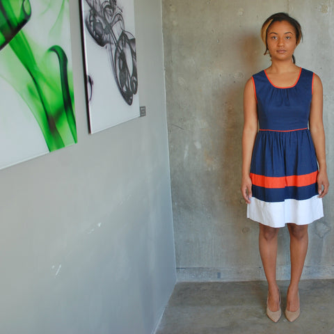 """April"" Colorblock A-line Dress"